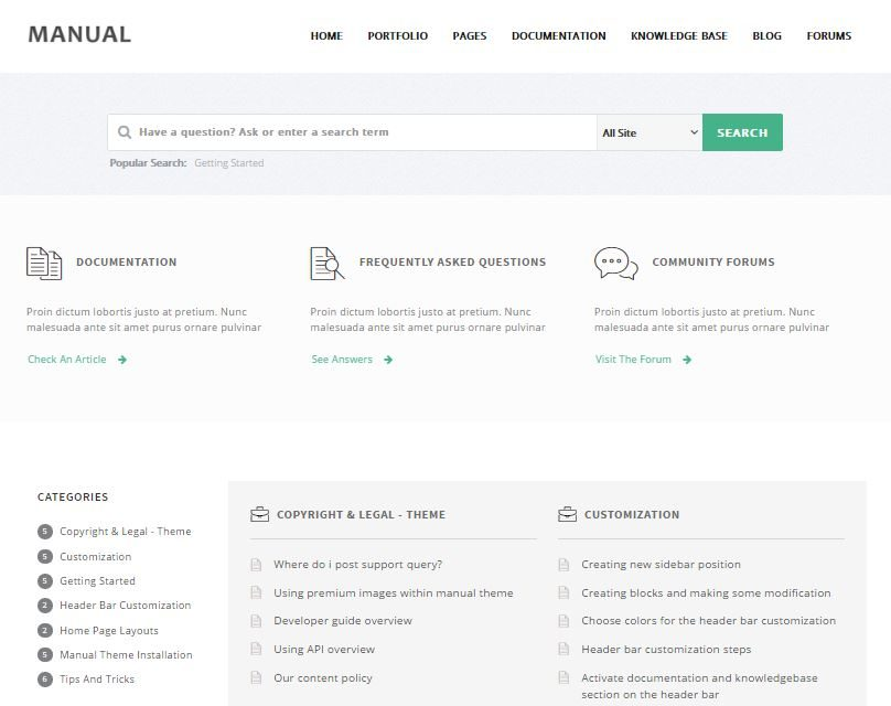 Manual support theme