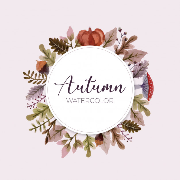 fall design elements watercolor