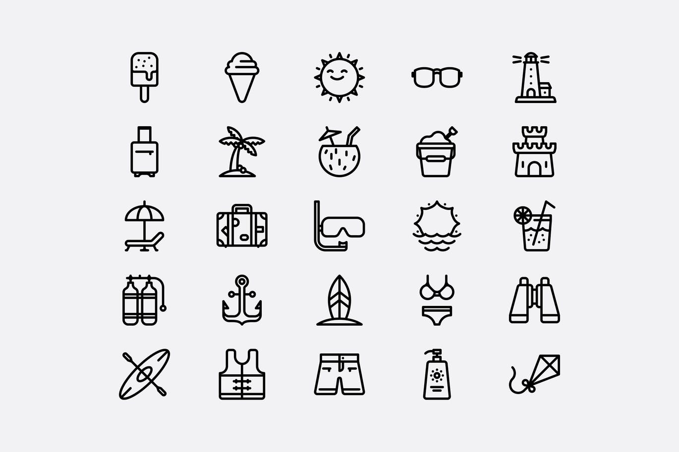 summer website theme icons