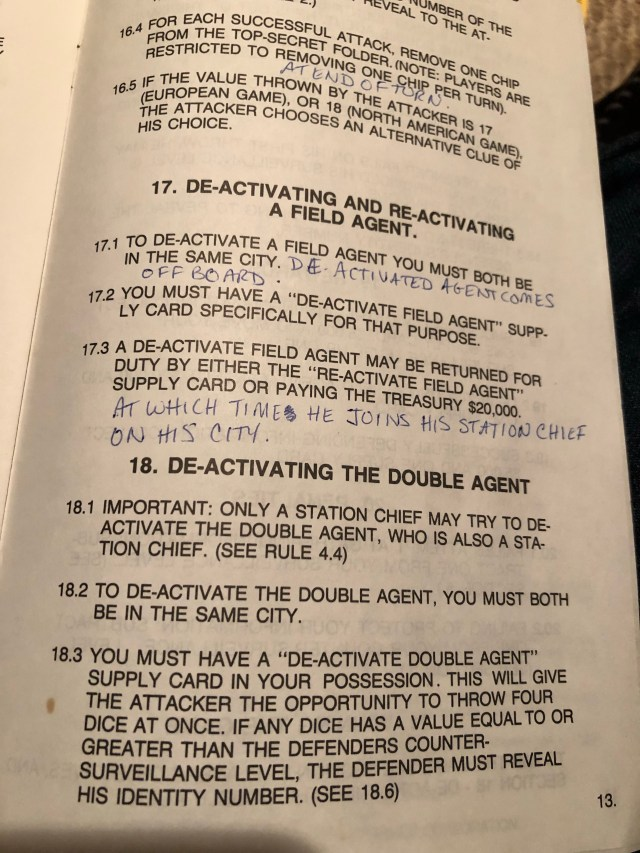 Instructions with handwritten additions for Robert Ludlum's Counter Espionage