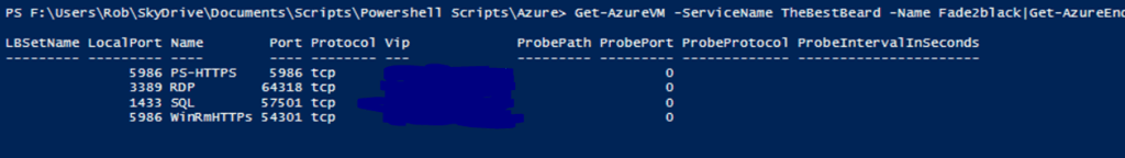 Using PowerShell to get Azure Endpoint Ports | SQL DBA with