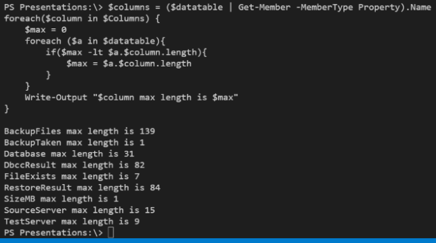 Max Length of a column in a DataTable in PowerShell | SQL