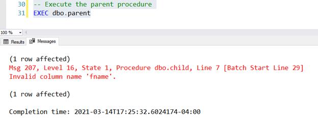 SSMS Screen Shot showing an error