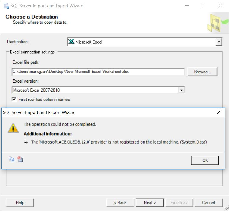 SQL Error – The 'Microsoft.ACE.OLEDB.12.0' provider is not registered on the local machine ...