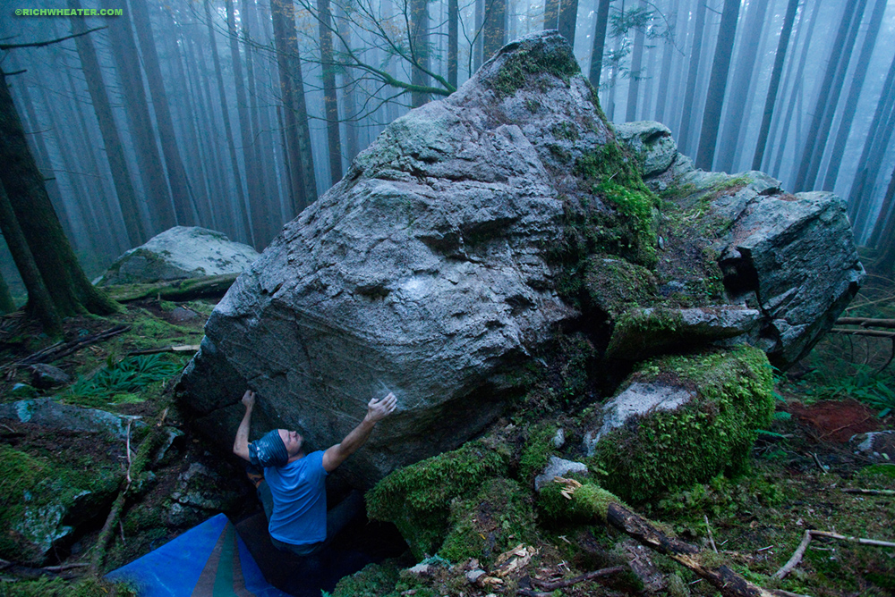 Rock climbing in Lynn Valley. North Vancouver, British Columbia