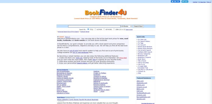 bookfinder4u textbook price comparison tool