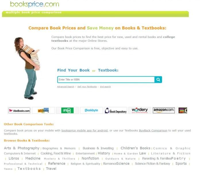 booksprice comapare prices of textbooks and books