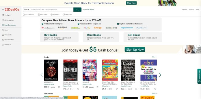 dealoz sell,buy and buyback textbook prices