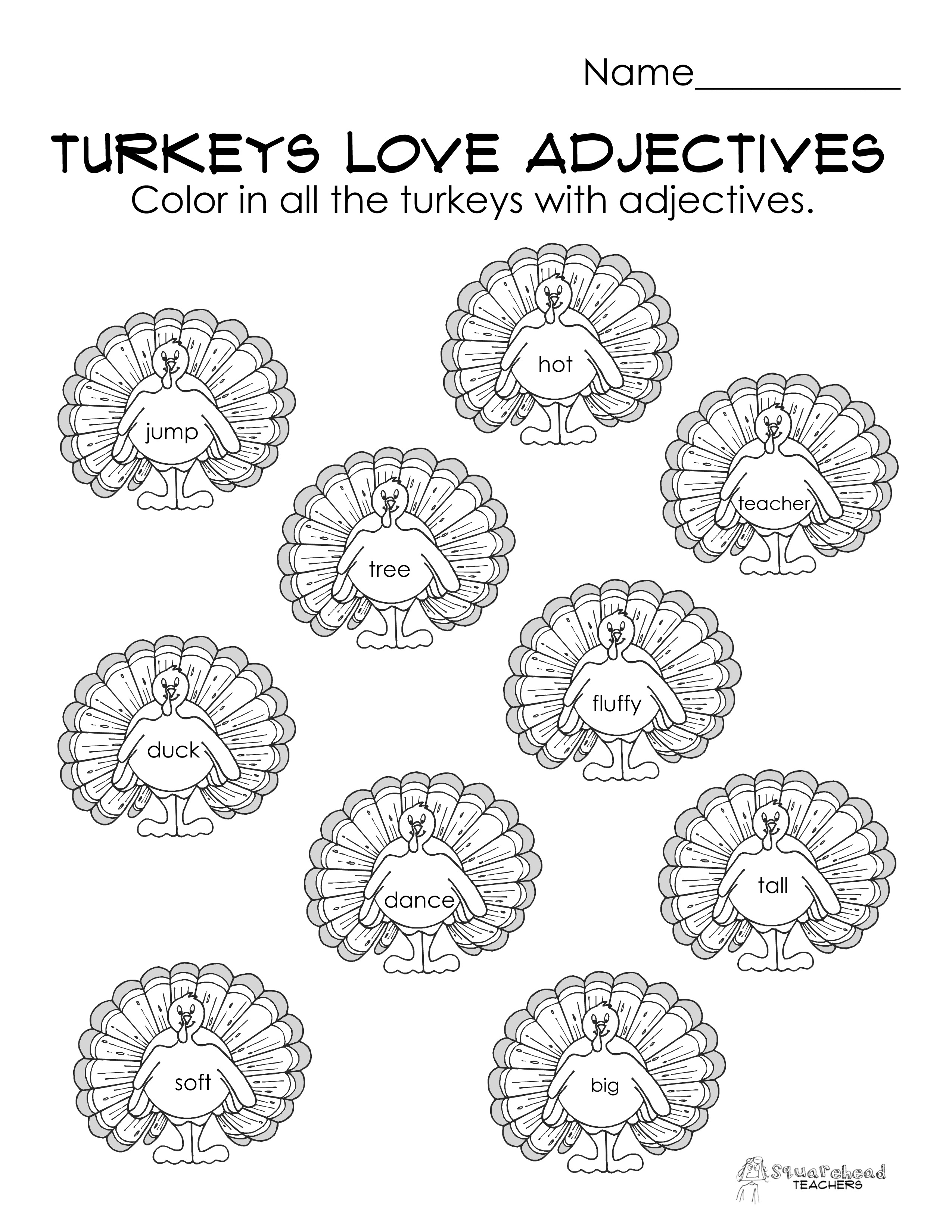 Turkeys Love Adjectives Free Parts Of Speech Worksheet