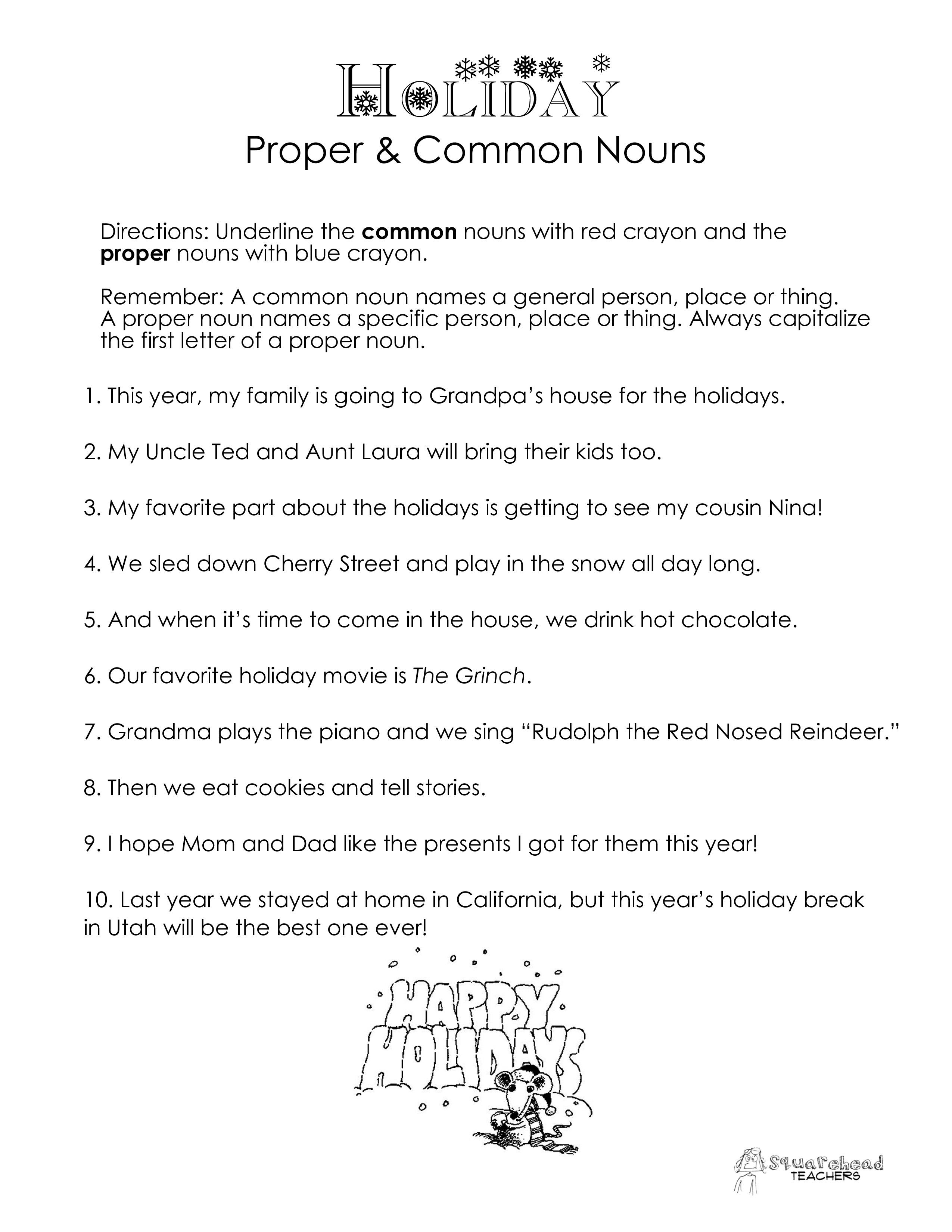 Common Vs Proper Nouns Christmas Winter Holidays Worksheet