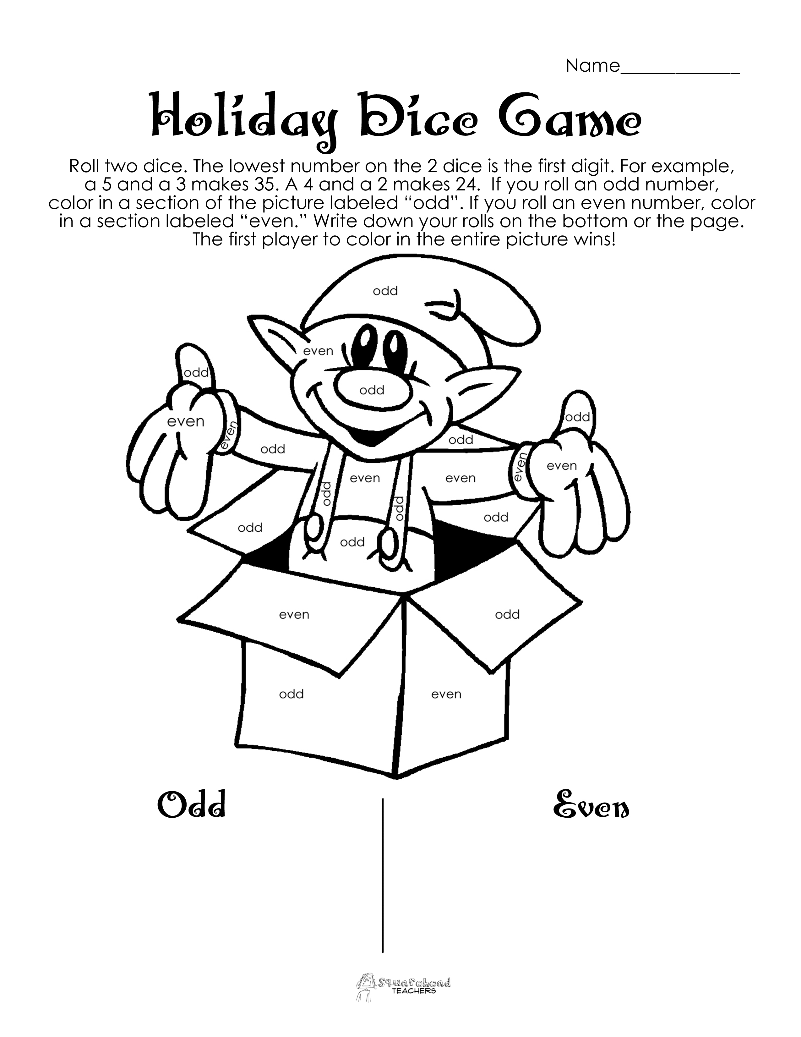 Odd Even Holiday Dice Game Free Download