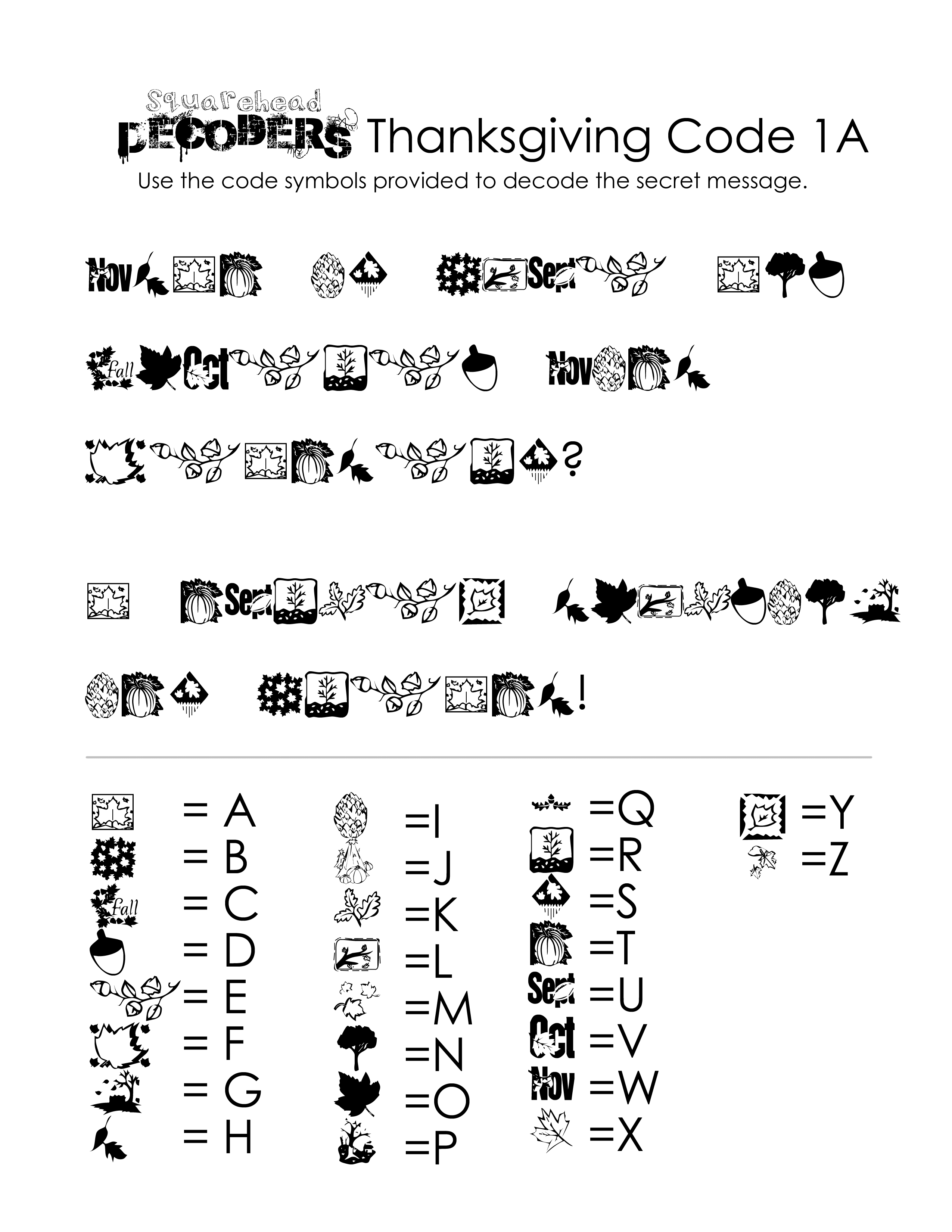 Thanksgiving Decoding Worksheets Free