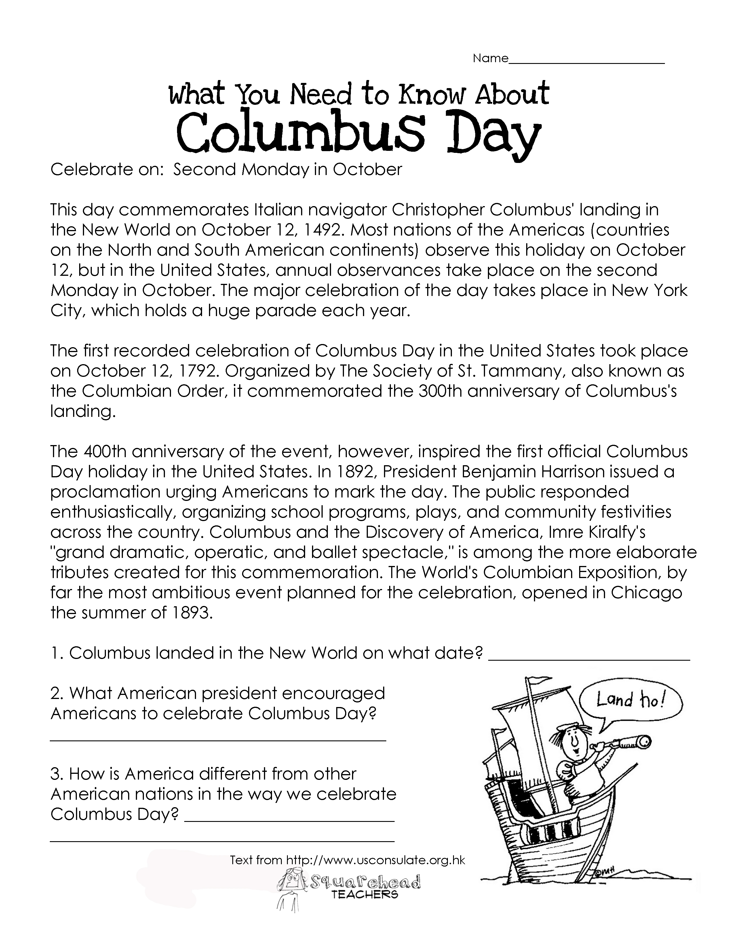 Columbus Day Free Worksheet