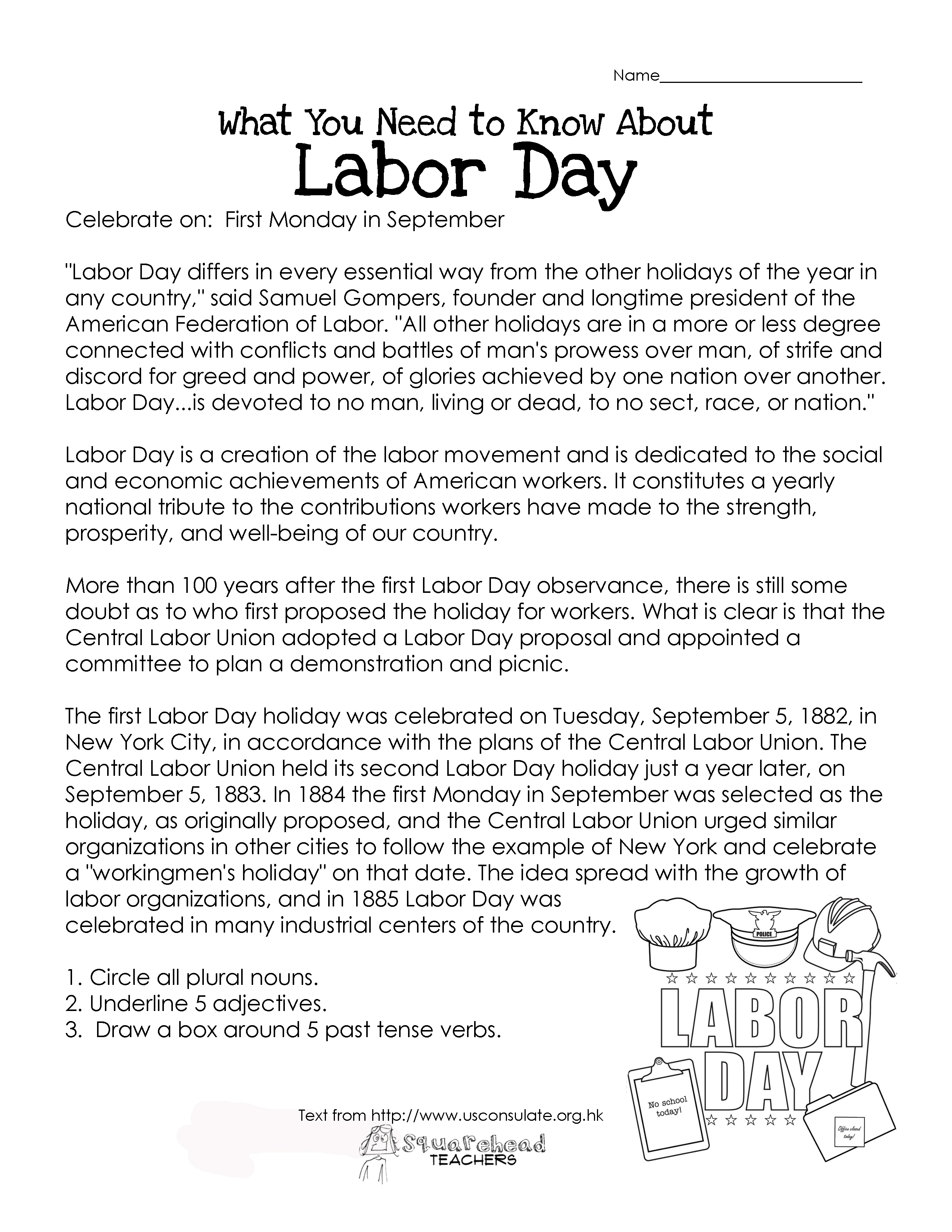 Labor Day What You Need To Know Free Worksheet