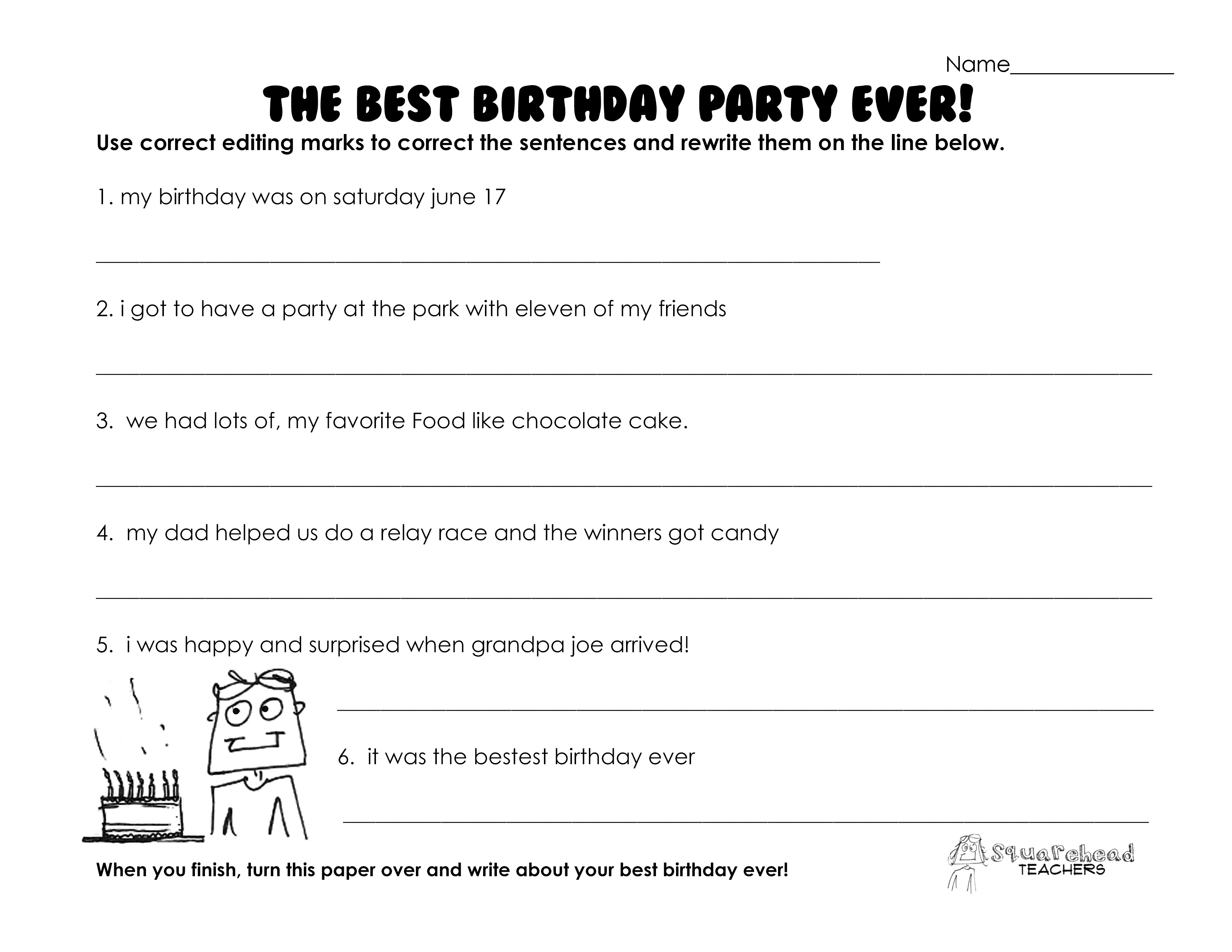 Best Birthday Party Ever Grammar Practice Worksheet