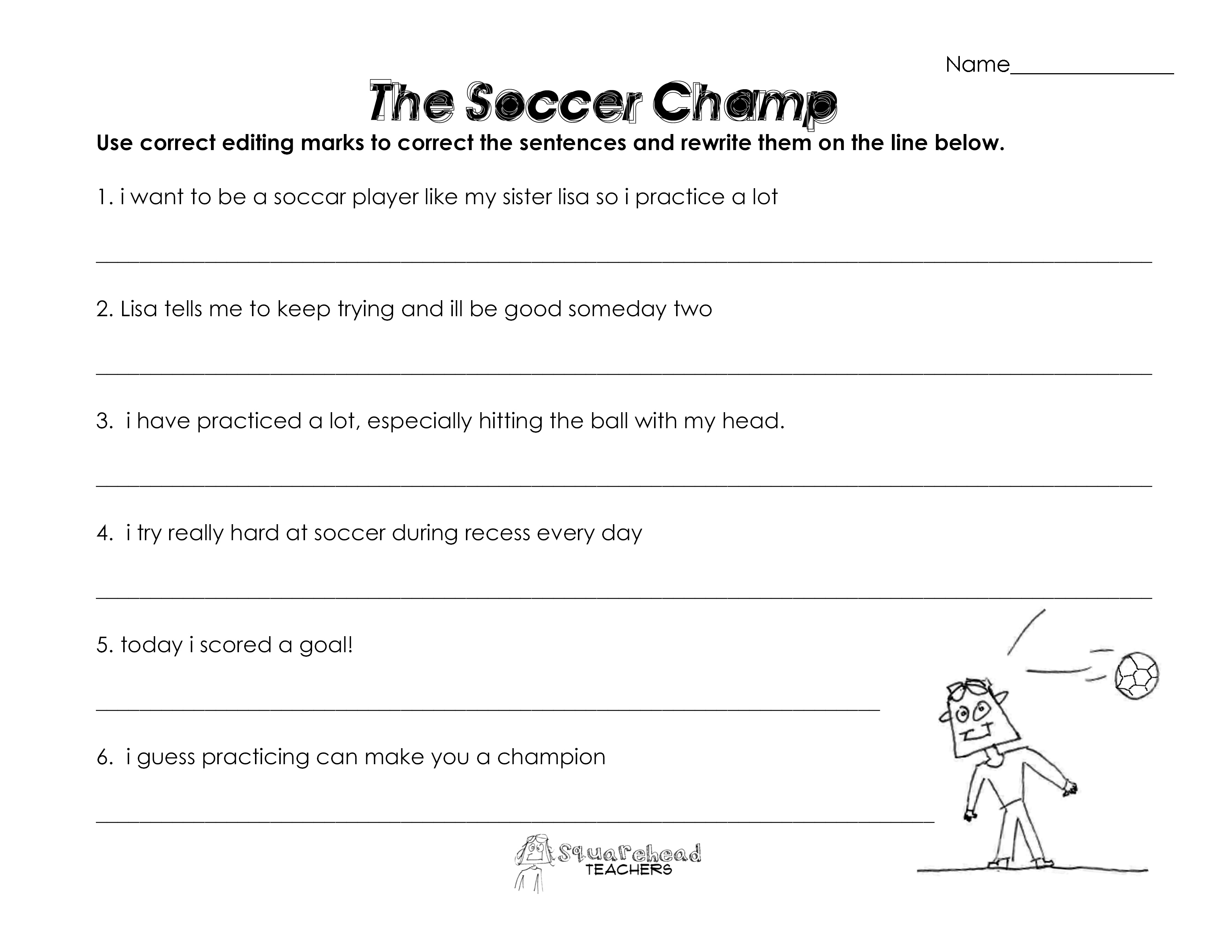 The Soccer Champ Grammar Worksheet