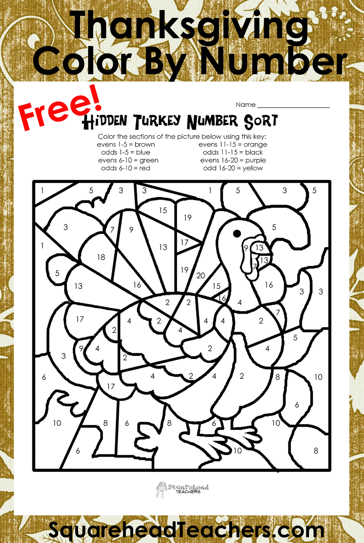 Homeschool Parent Thanksgiving Odd And Even Color By Number Turkey Freebie