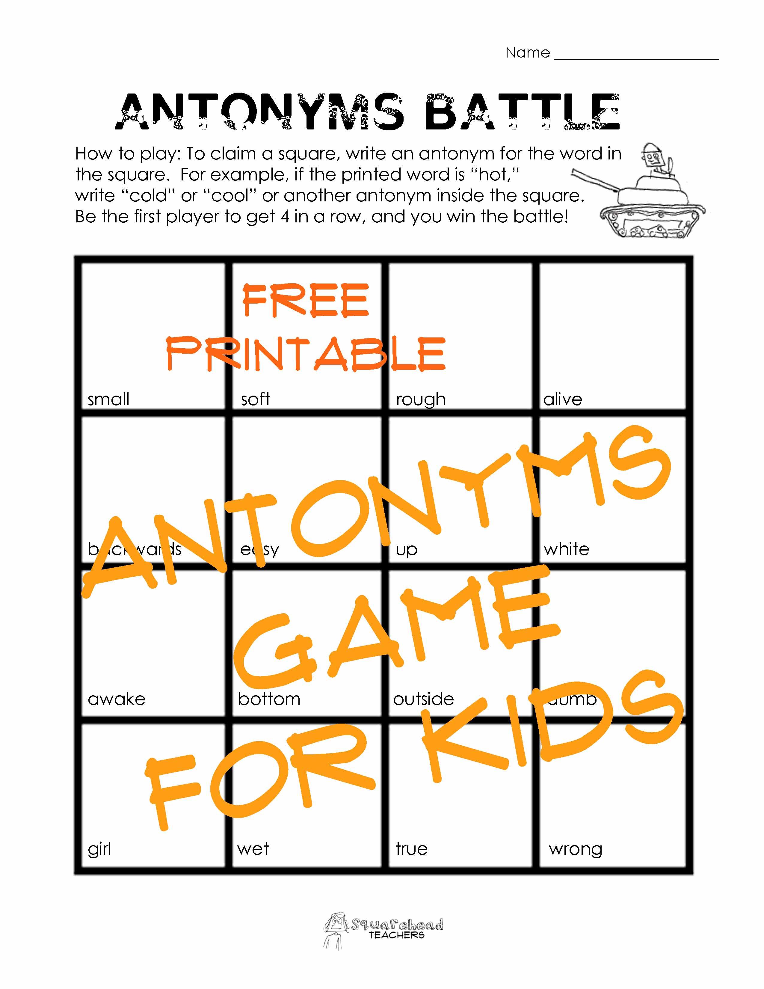 Antonyms Game For Kids