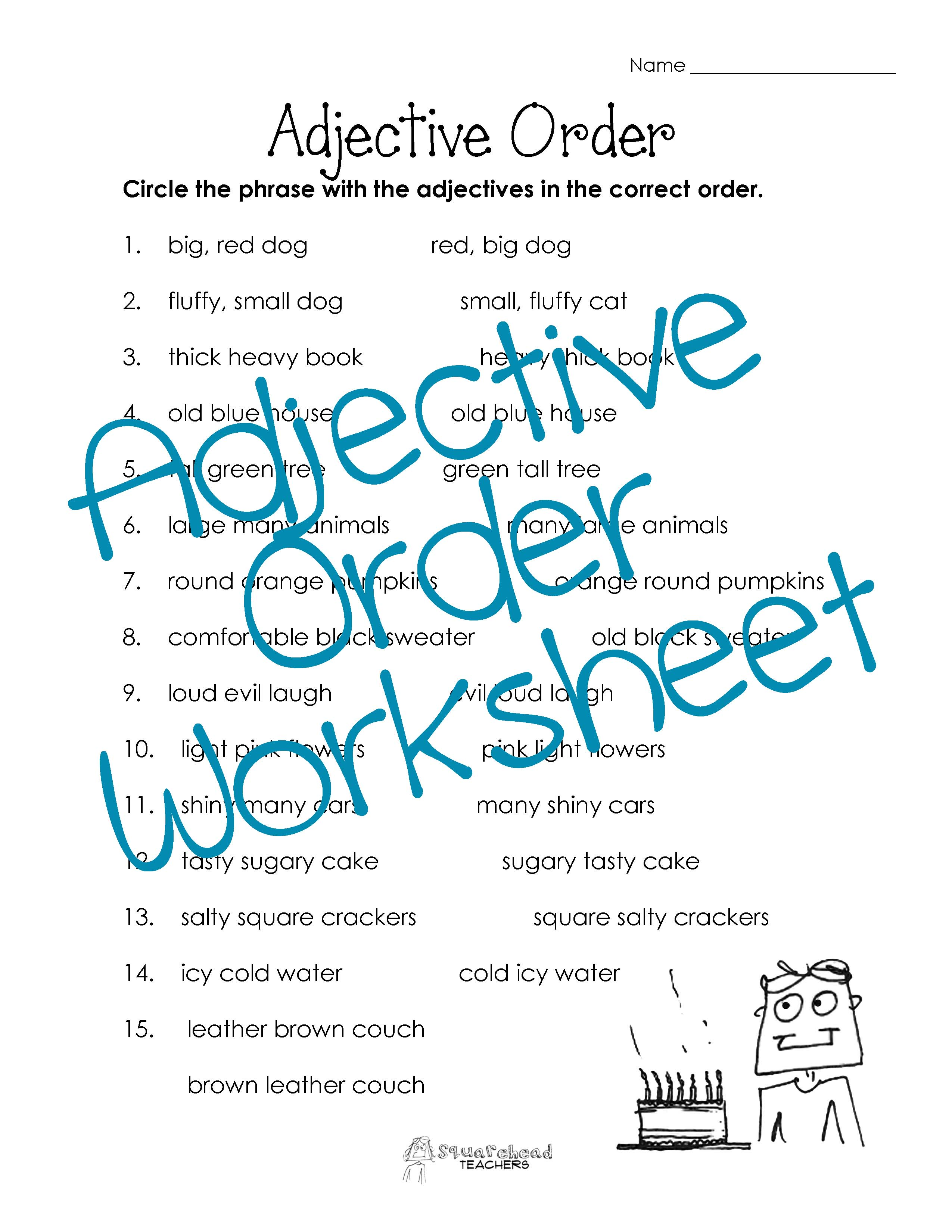 Adjective Order Worksheet Free