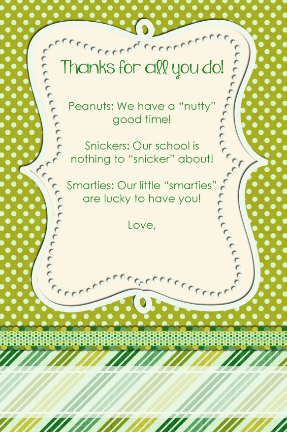 Candy Thank You Notes For Teachers Amp Staff Squarehead