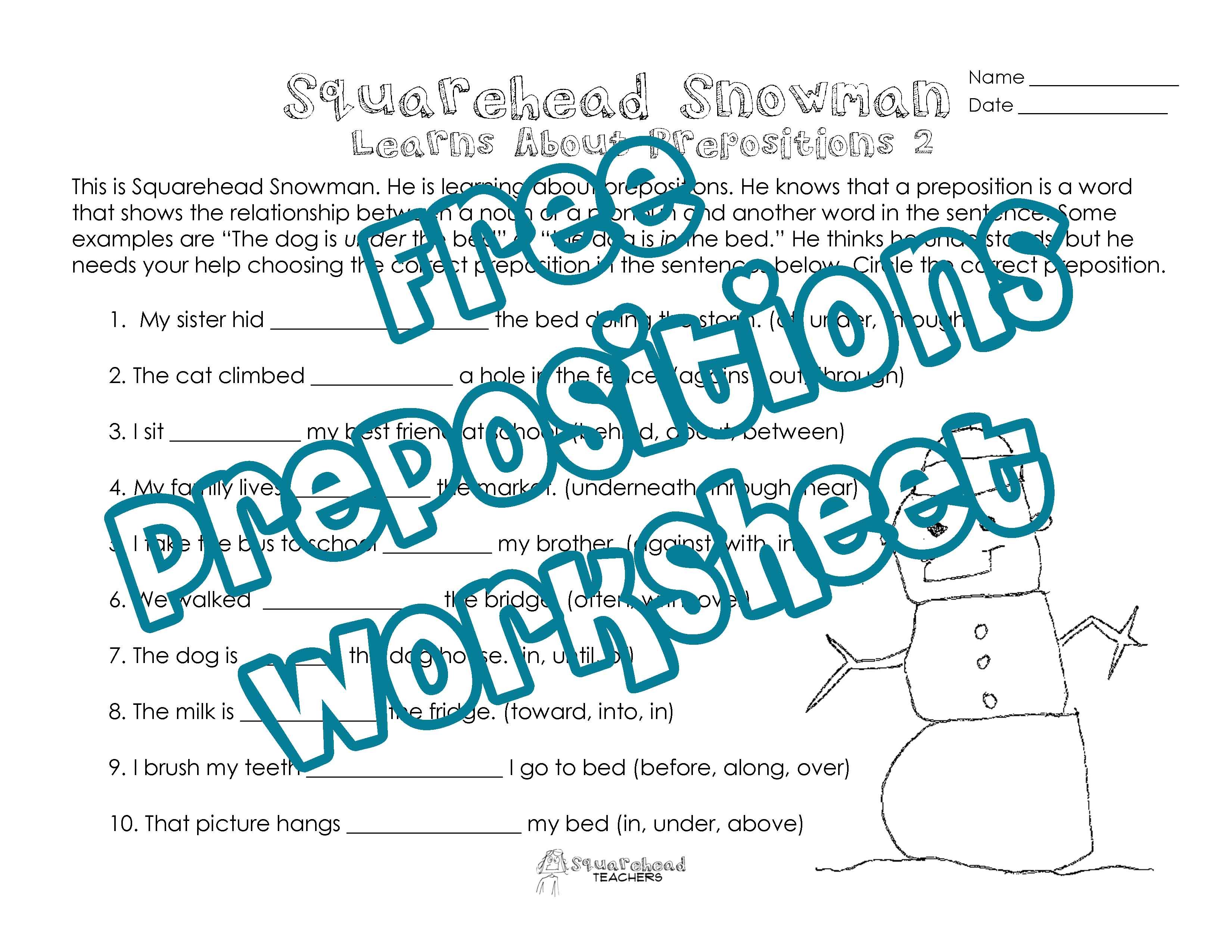 Squarehead Snowman Prepositions Practice 2