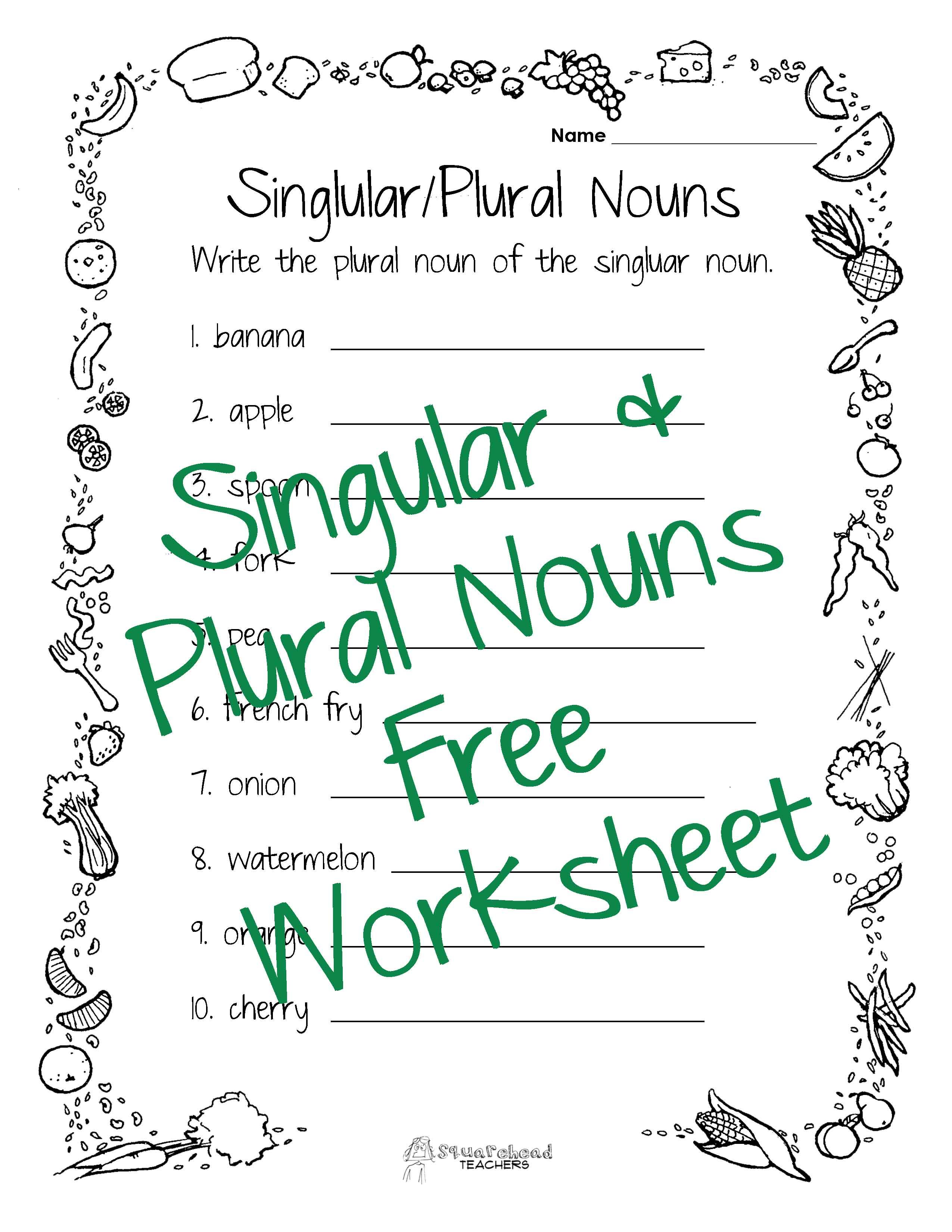Singular Plural Nouns Worksheet
