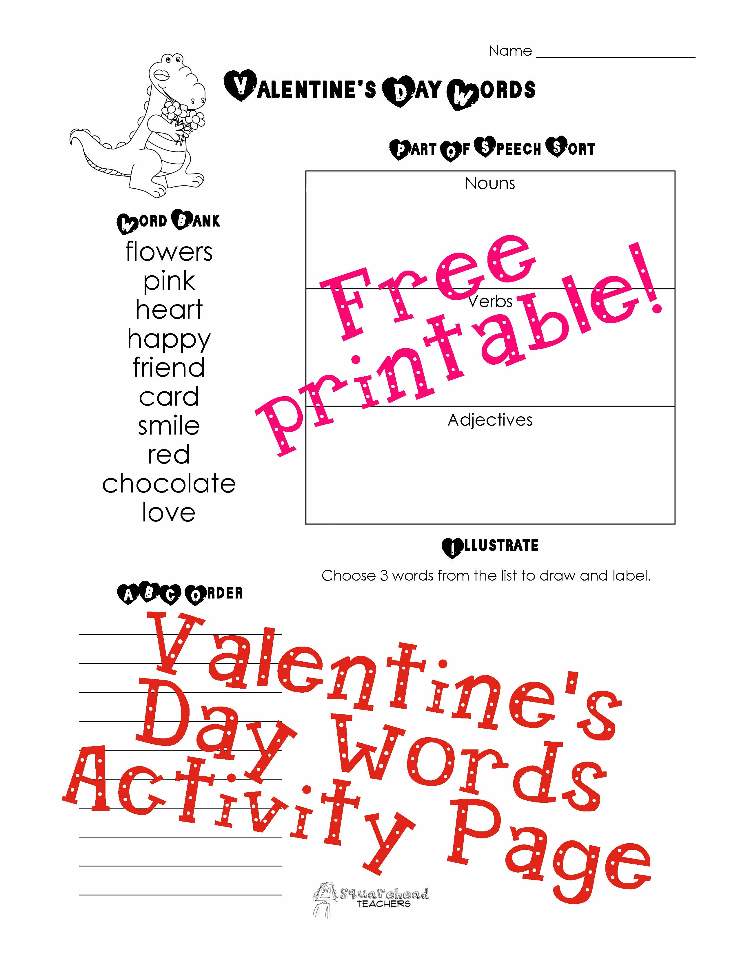 Valentine Words Activity Page