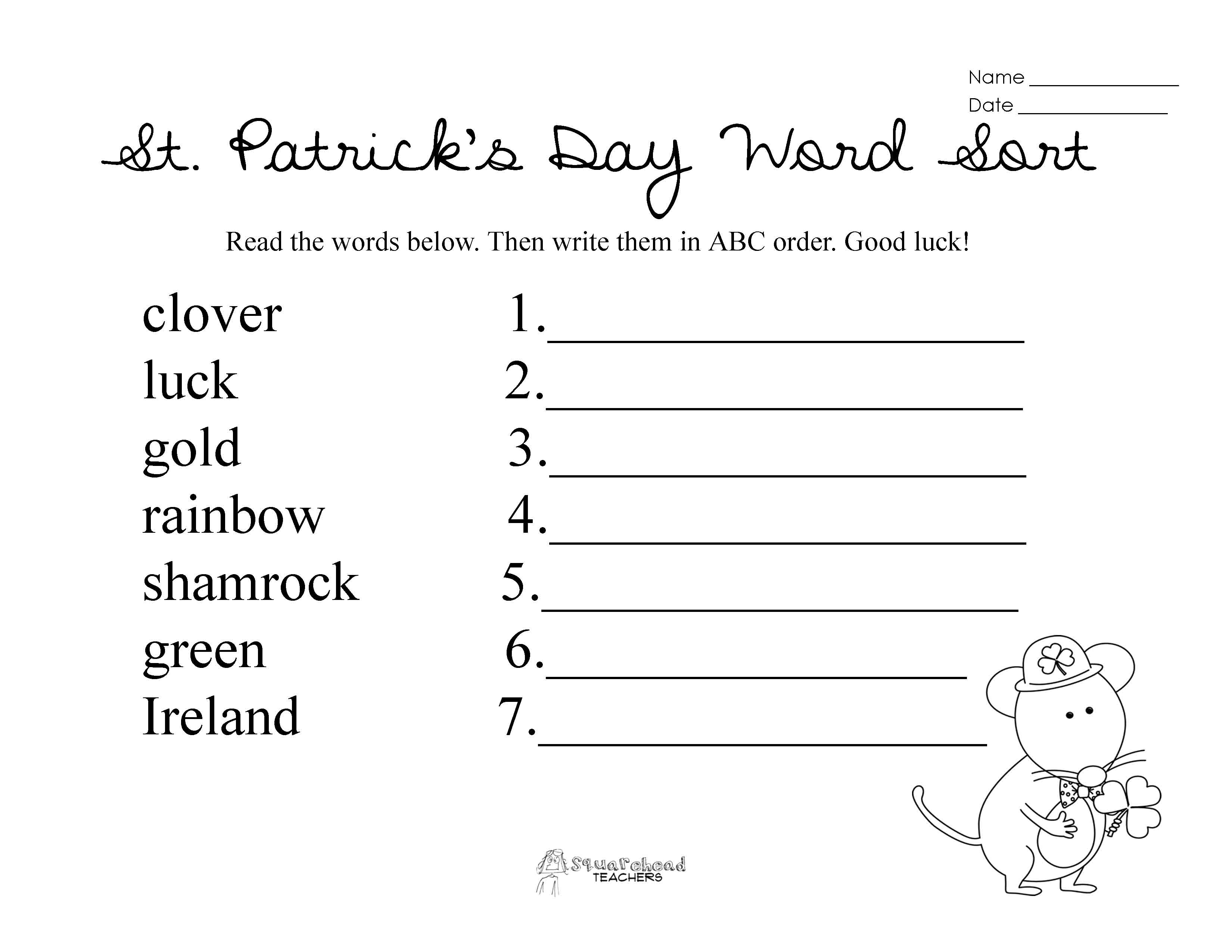 St Patrick S Day Abc Order