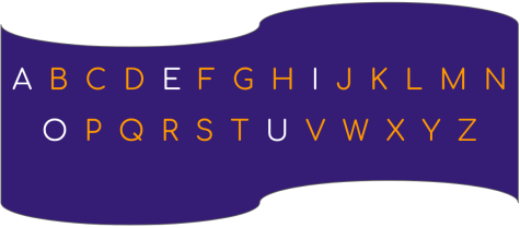 Letters of the English alphabet.