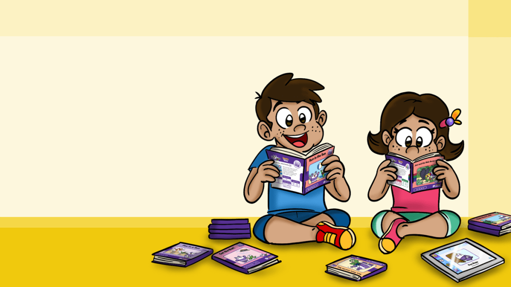 Child using various reading techniques to read