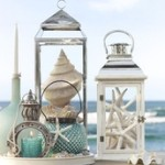 lantern with seashells