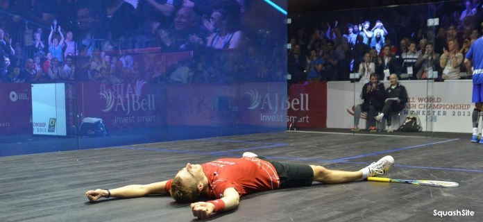 FLAT OUT: Nick savours his moment of glory