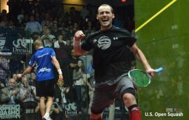 Gregory Gaultier celebrates as he wins the 2013 US Open men's final