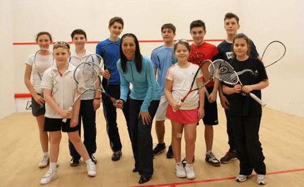The UK Sports Minister Helen Grant shows her support for squash