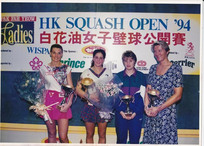 Rolling back the years: Michelle Martin, Cassie Thomas, Sue Wright and Martine Le Moignan in Hong Kong in 1994