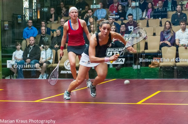 Camille Serme in action against Alison Waters in the Windy City Open
