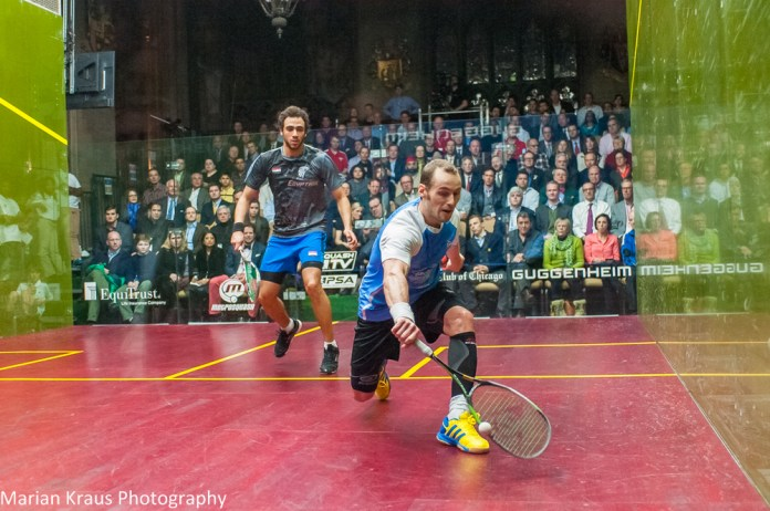 Gregory Gaultier controls the front of the court with Ramy Ashour trapped behind
