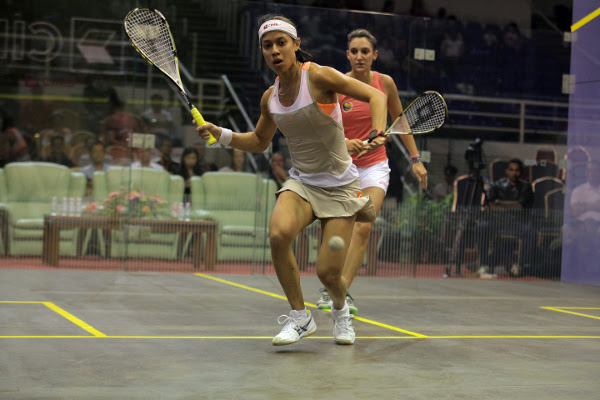 Nicol David gets in front against Camille Serme