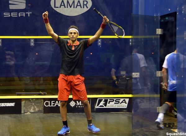 Mohamed El Shorbagy celebrates victory