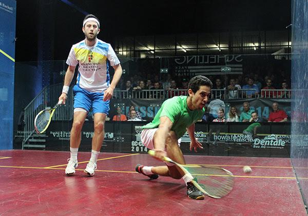 Tarek Momen (green shirt) on the attack