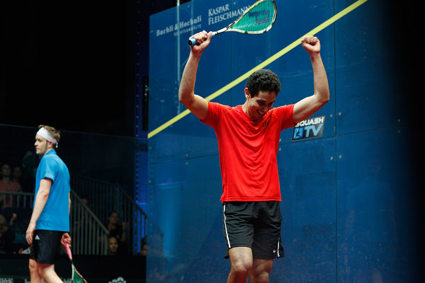 Tarek Momen celebrates as he beats James Willstrop