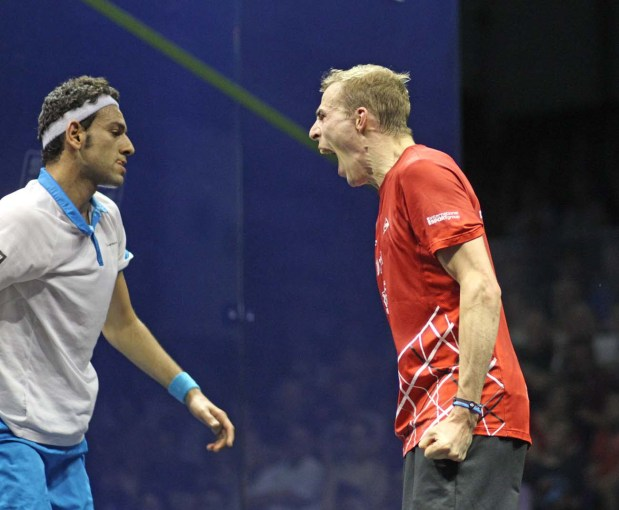 The Lion roars: Nick Matthew lets it all out as he powers past Mohamed Elshorbagy