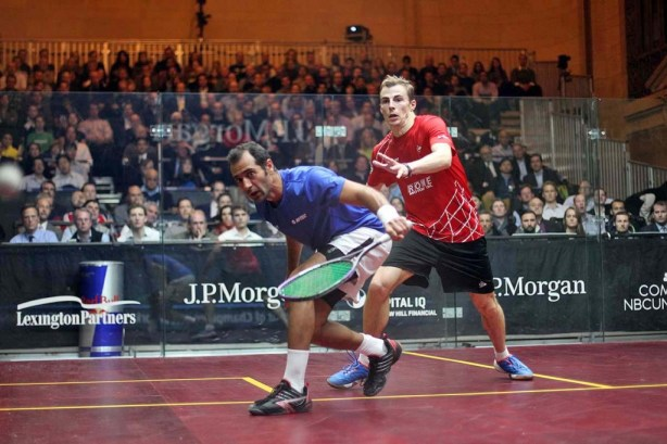 Amr Shabana and Nick Matthew in action at the prestigious Tournament of Champions event staged inside Grand Central Terminal, New York