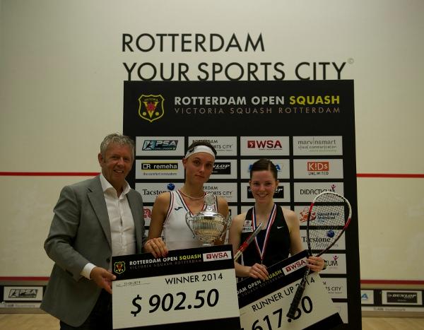 Lucie Fialova (centre) reaps her rewards in Rotterdam