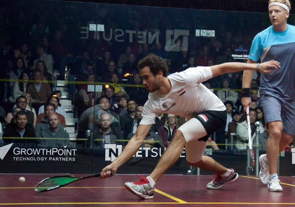 Ramy Ashour in action in San Francisco