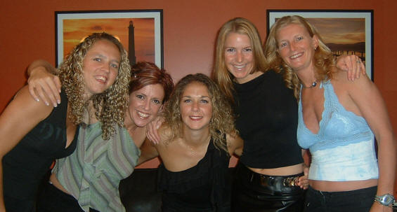 England's golden girls Fiona Geaves, Linda Elriani, Cassie Thomas and Vicky Boswell get ready to party
