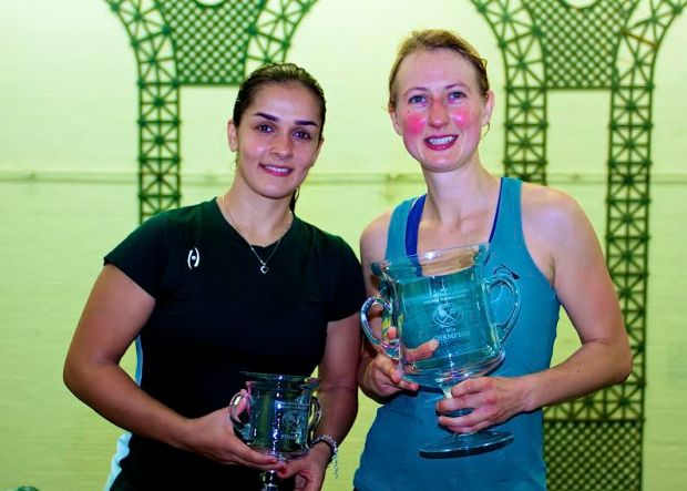 Trophy time at Heights Casino for Alison Waters (right) and Omneya Abdel Kawy