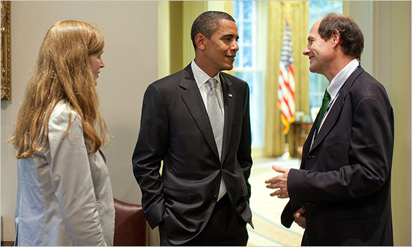 Cass Sunstein and his wife Sam talk squash with President Obama