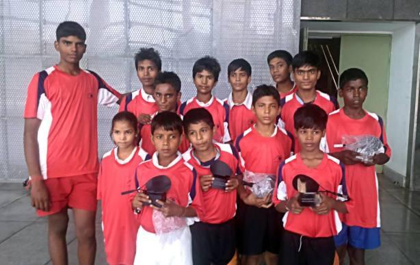 Indian children enjoy their time on court in New Delhi