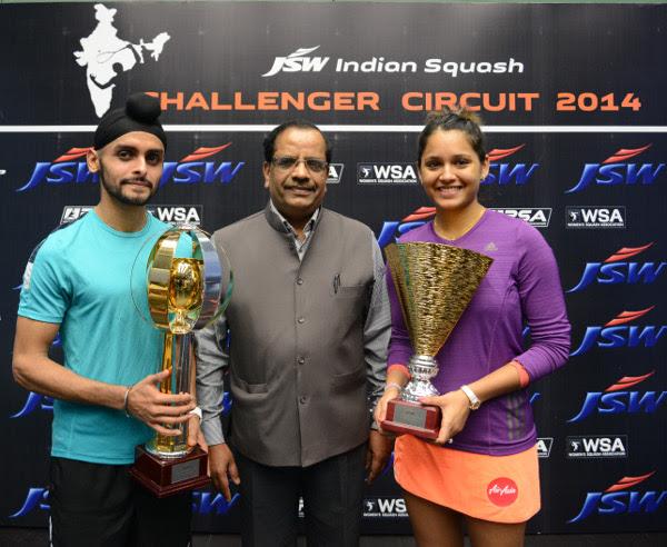 Dipika Pallikal and men's champion Harinder Pal Sandhu